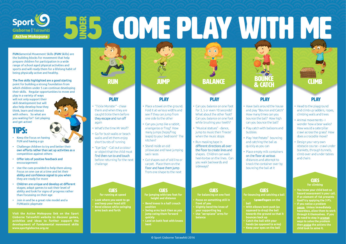 pictured of the 5 under 5 skills chart